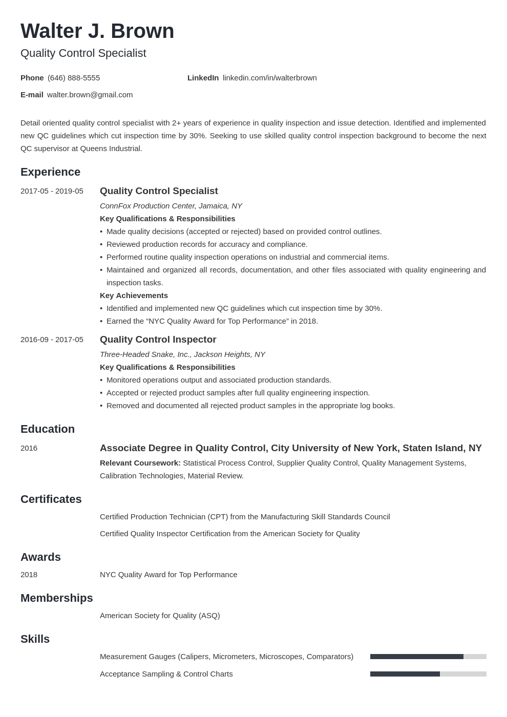 quality control resume example template minimo