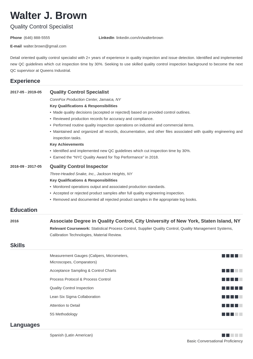 quality control resume example template nanica