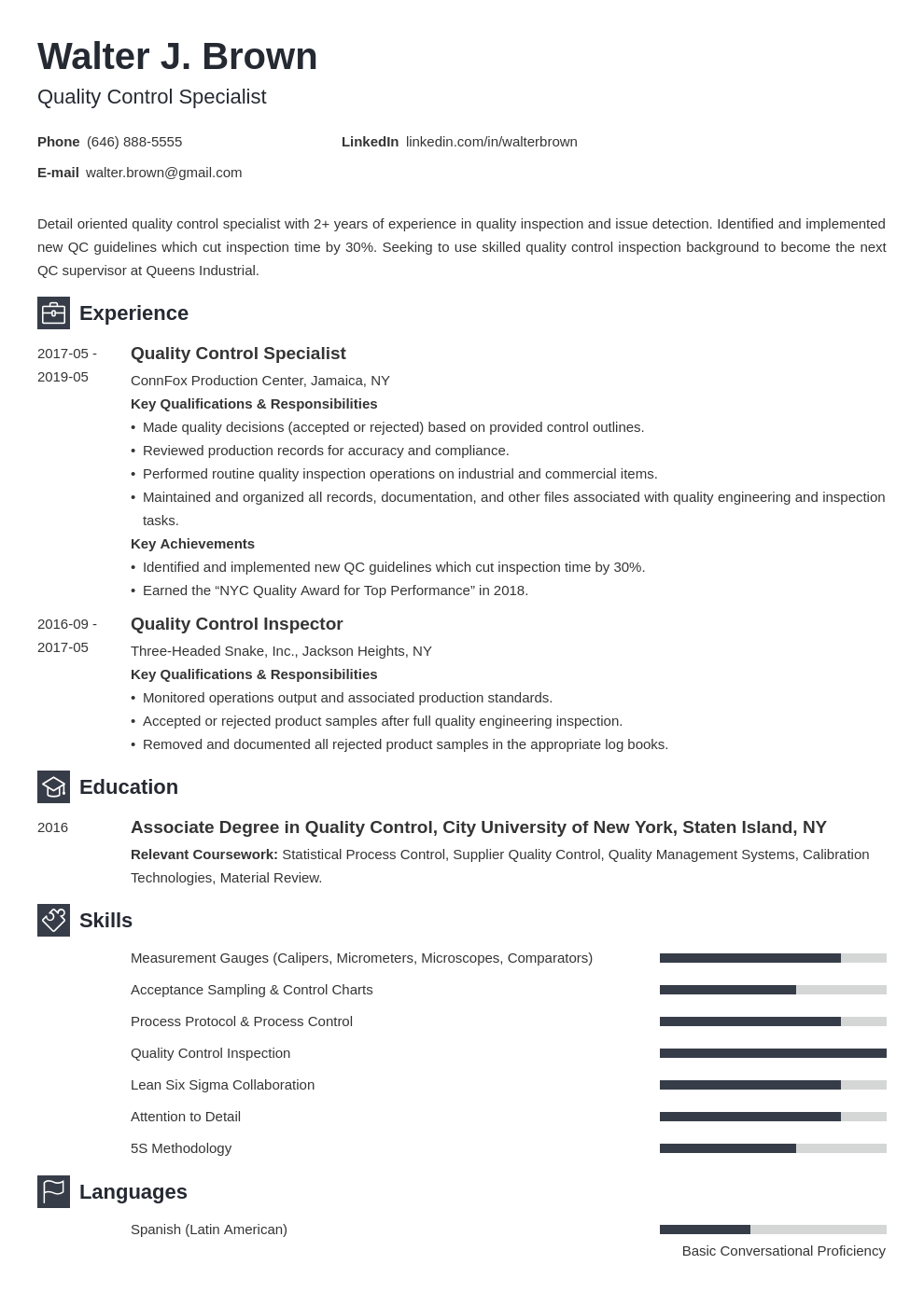 quality control resume example template newcast