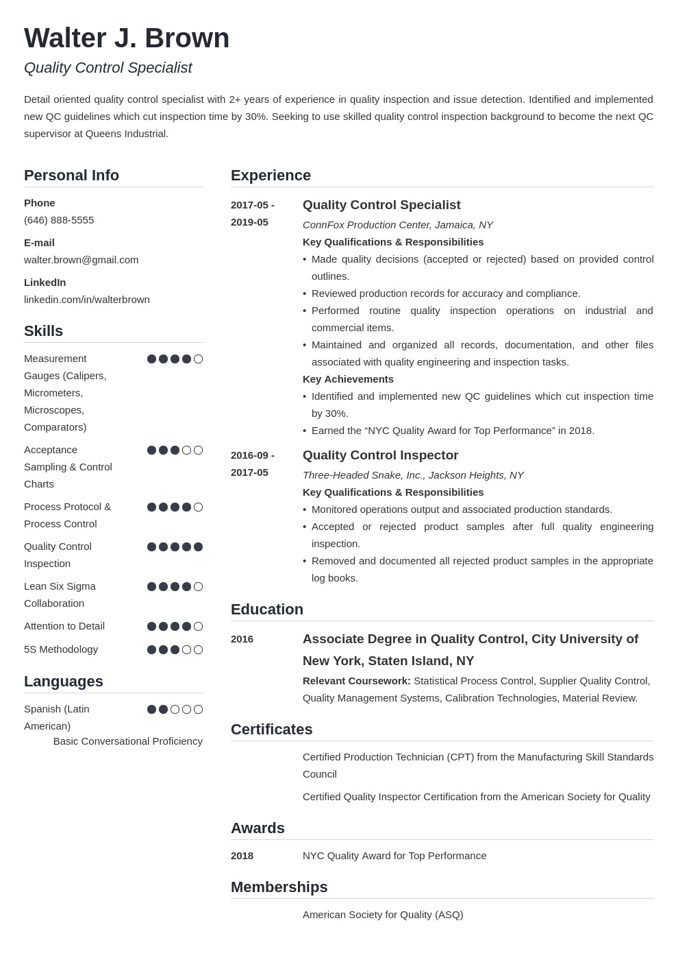 quality control resume example template simple