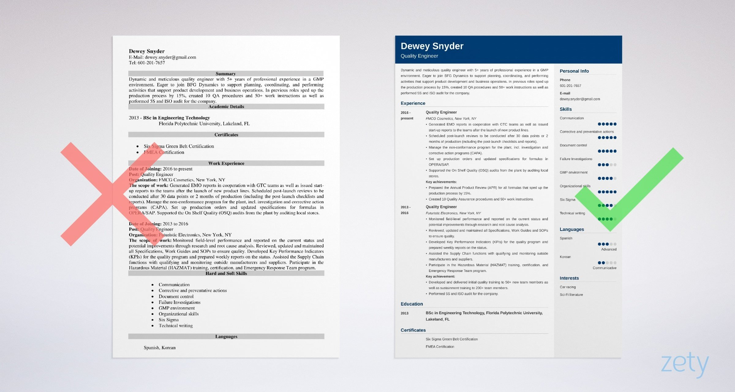 quality engineer resume templates