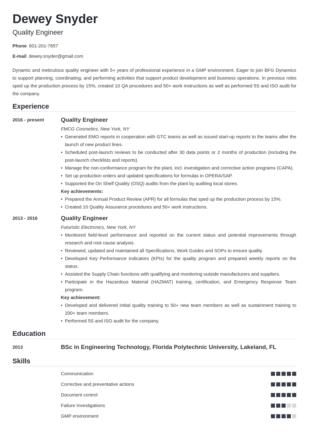 quality engineer resume example template nanica