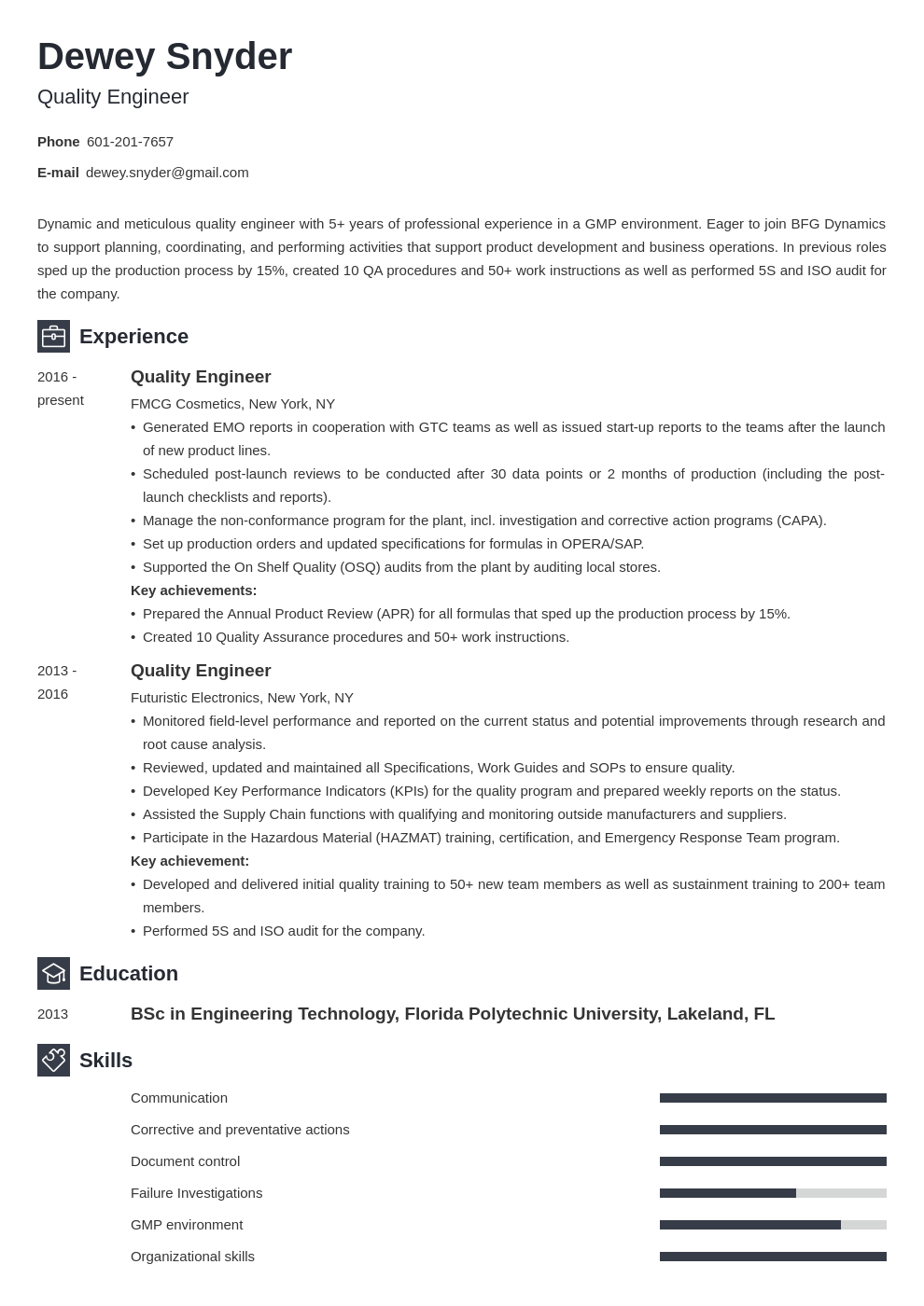 quality engineer resume example template newcast