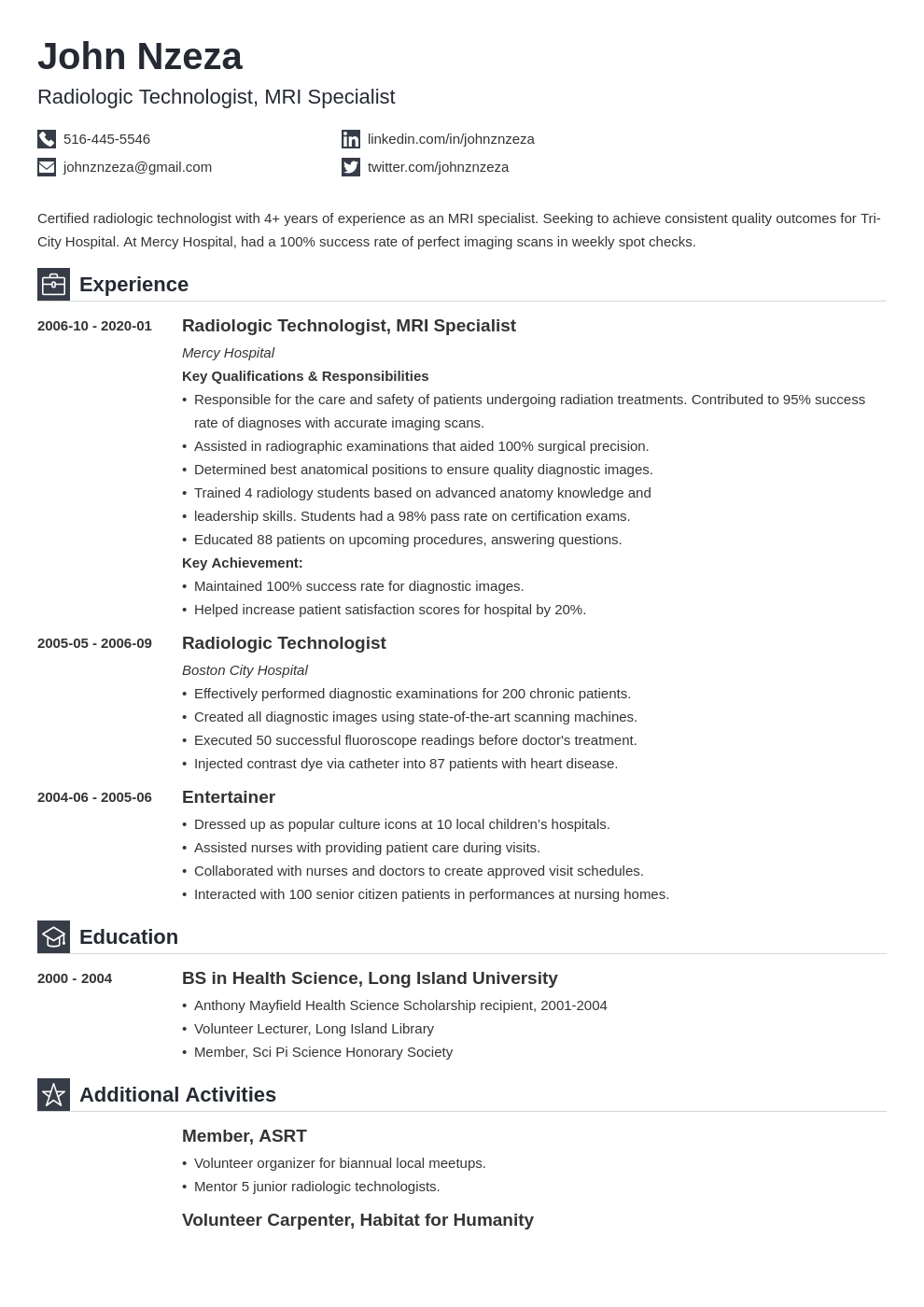 radiologic technologist resume example template iconic