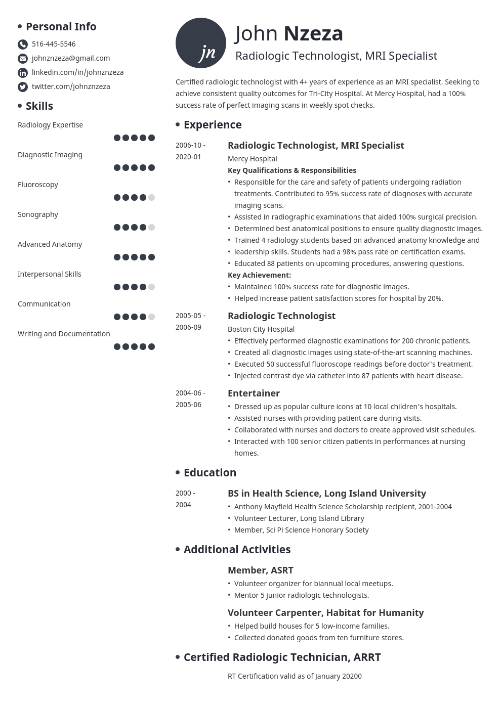 Radiologic Technologist Resume X Ray Tech Resume Example
