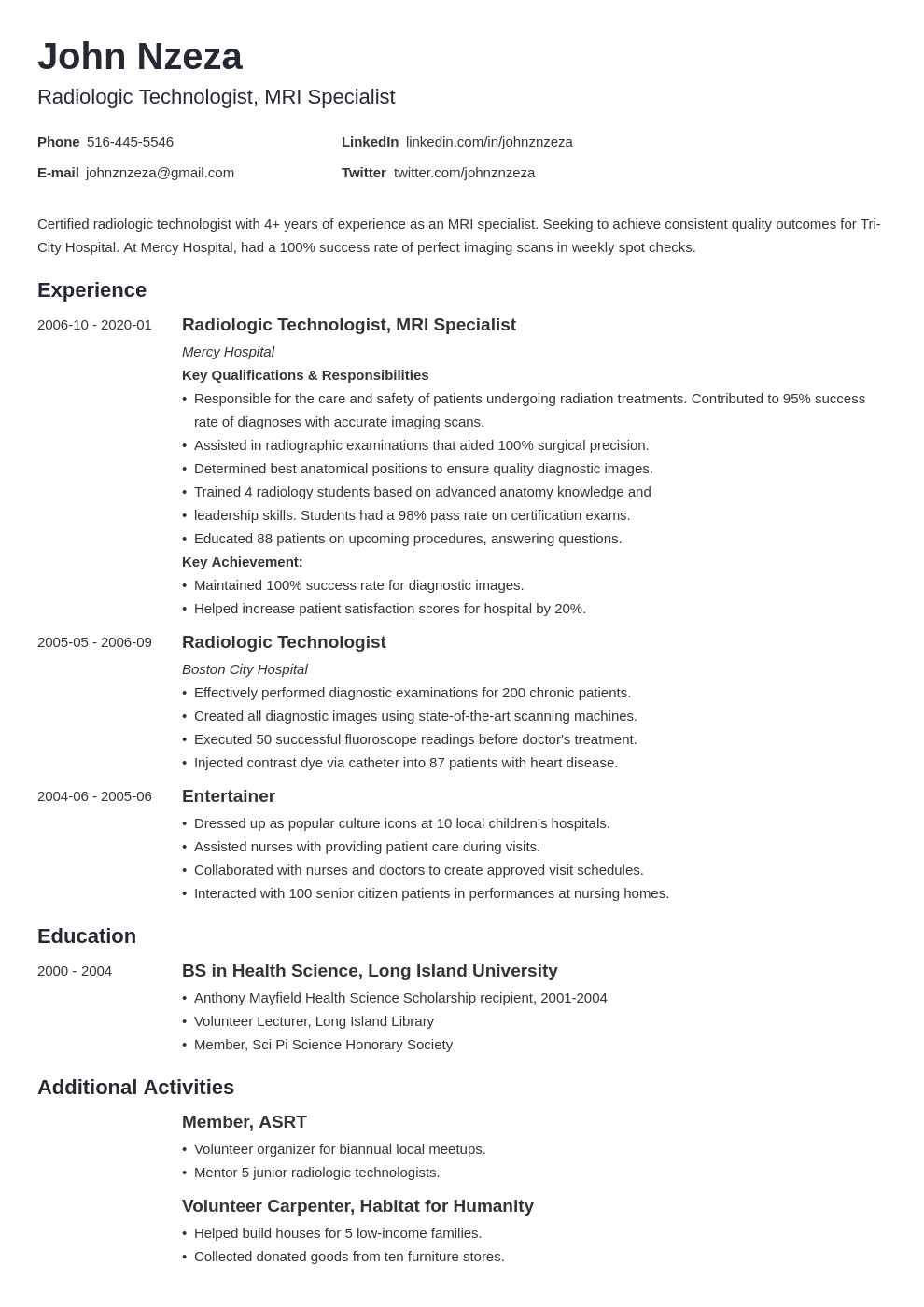 radiologic technologist resume example template minimo