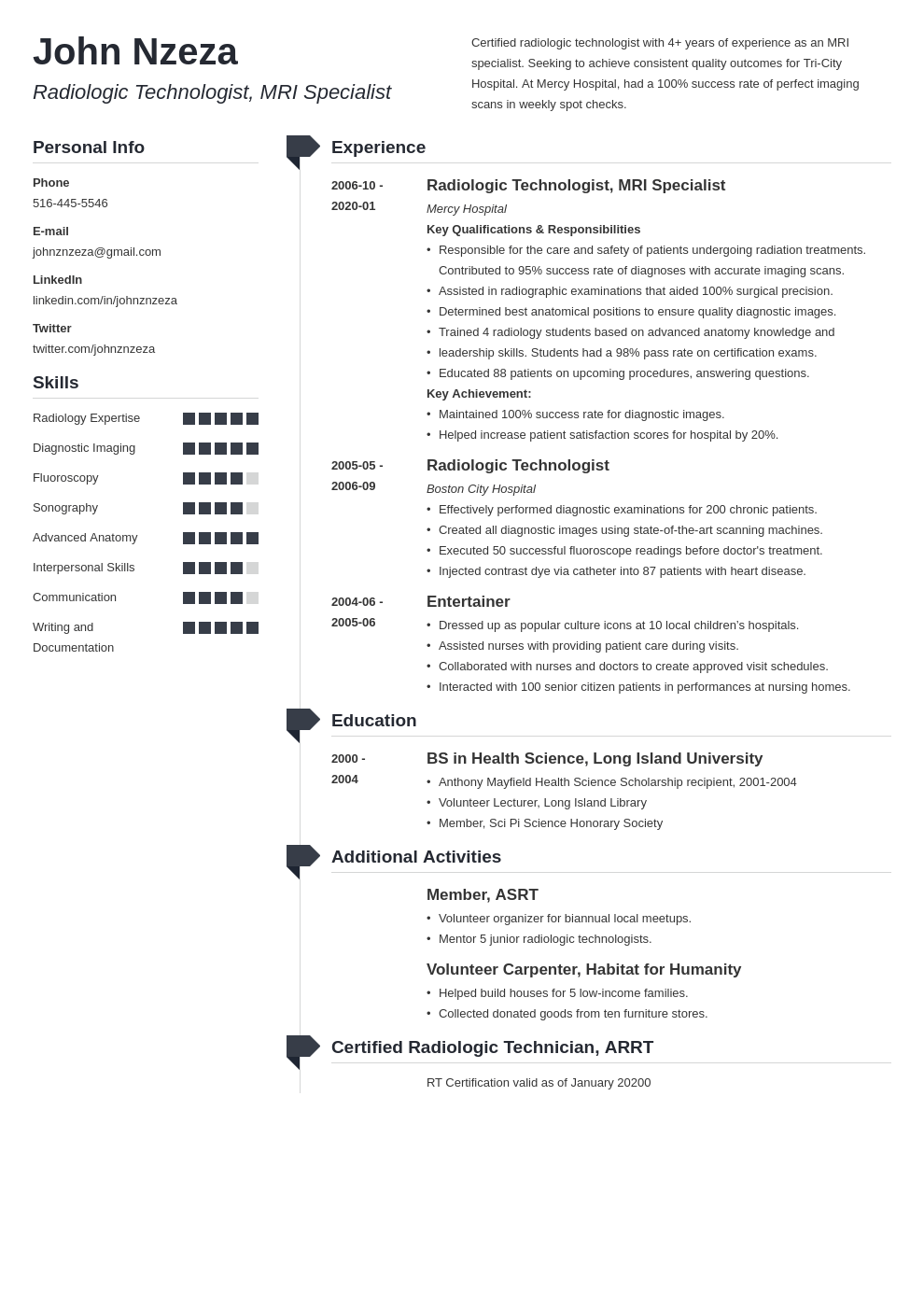 radiologic technologist resume example template muse