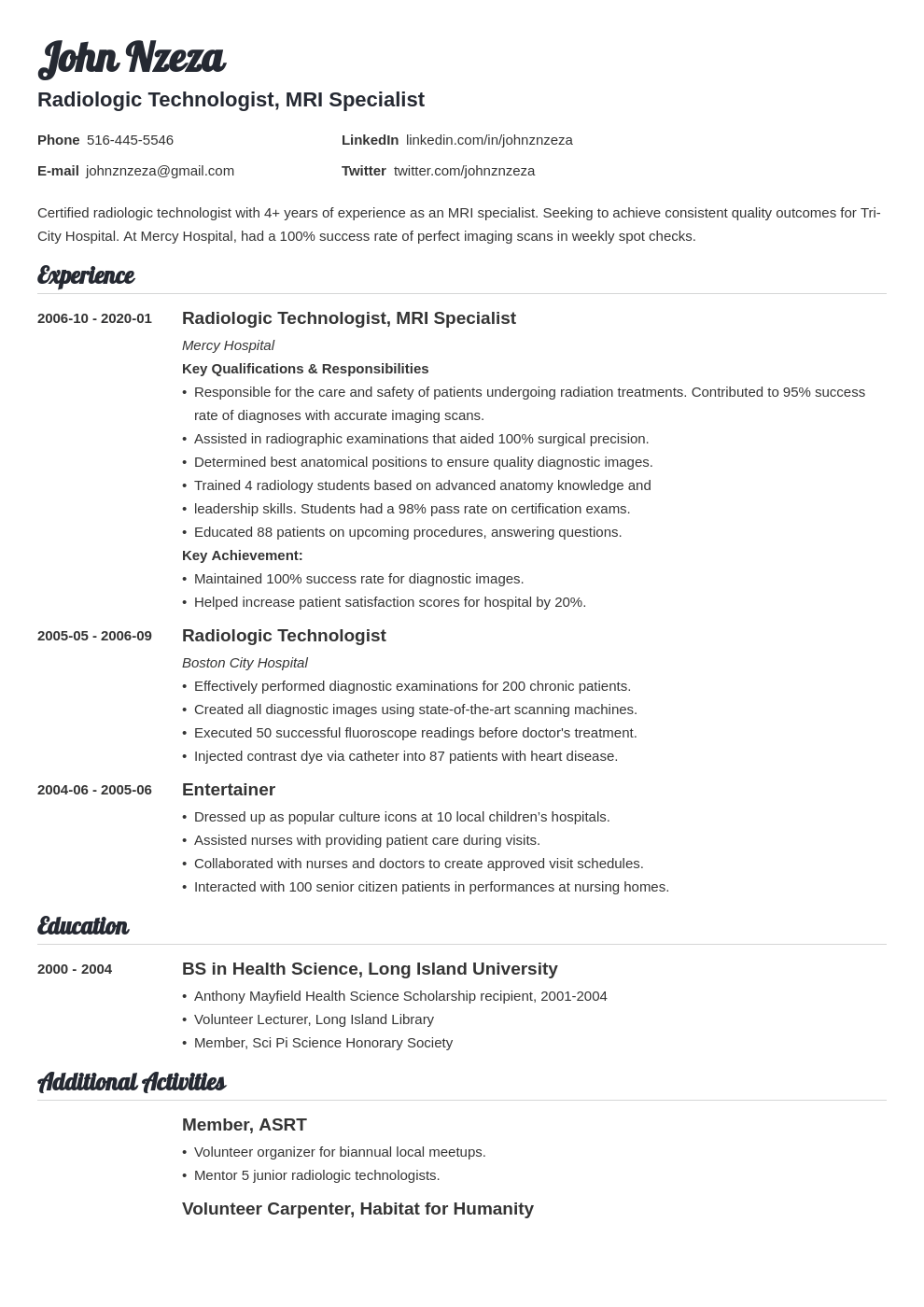 radiologic technologist resume example template valera