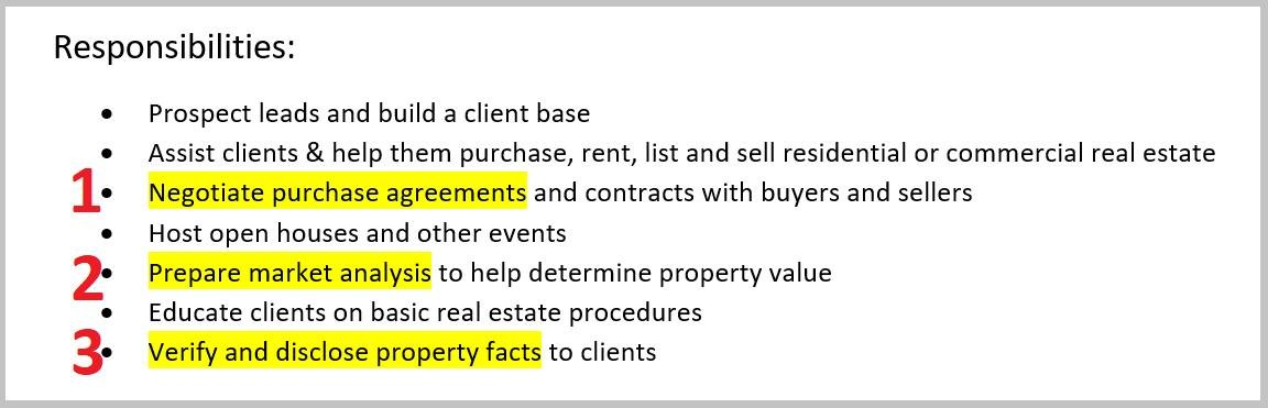 real estate agent responsibilities