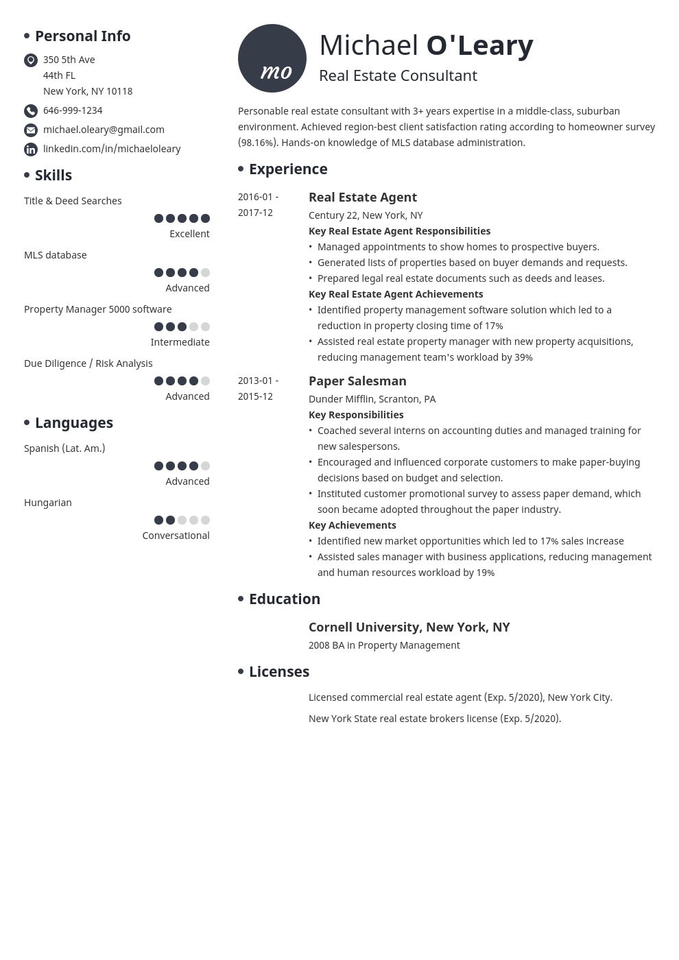 real estate resume example template initials