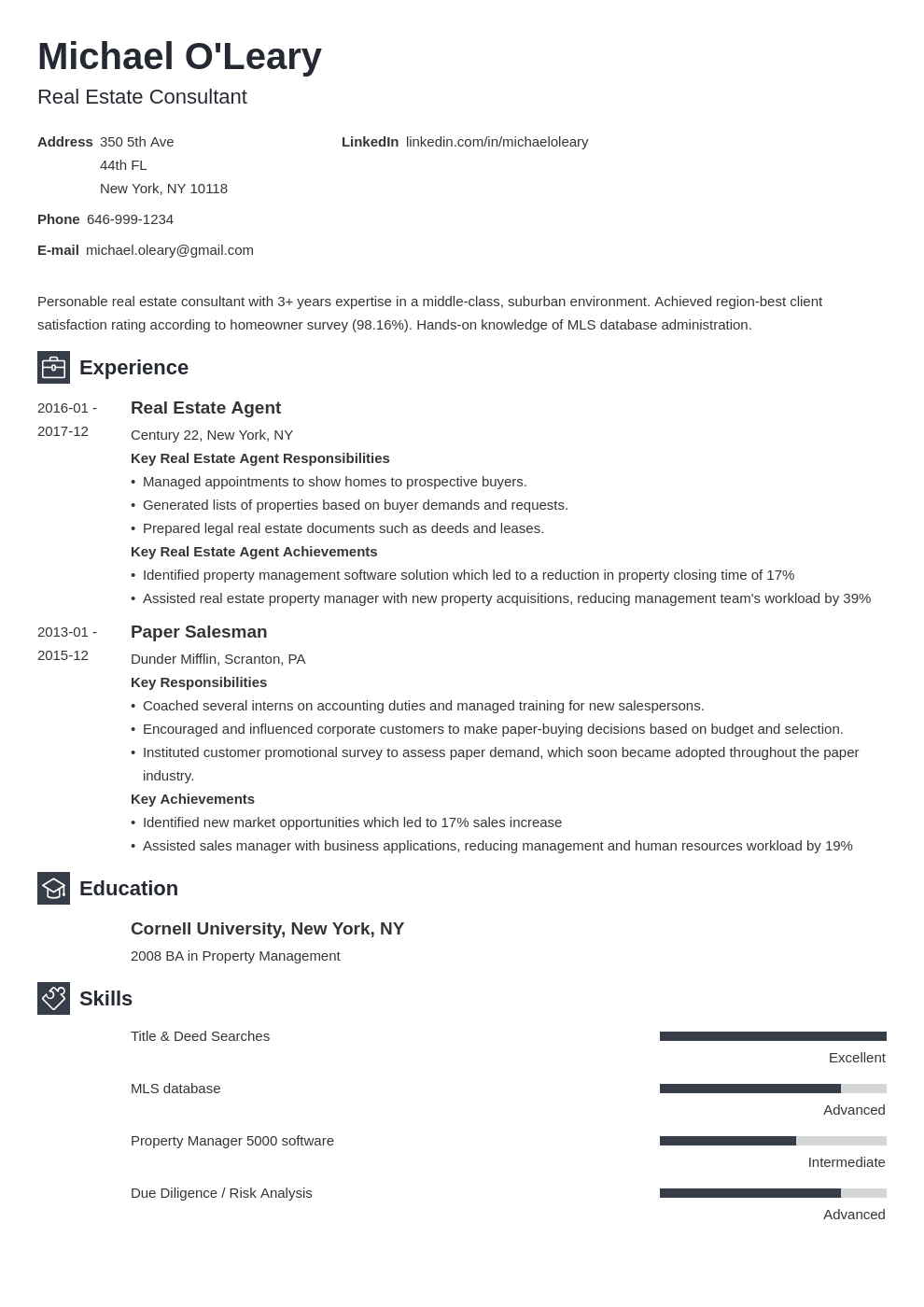 real estate resume example template newcast