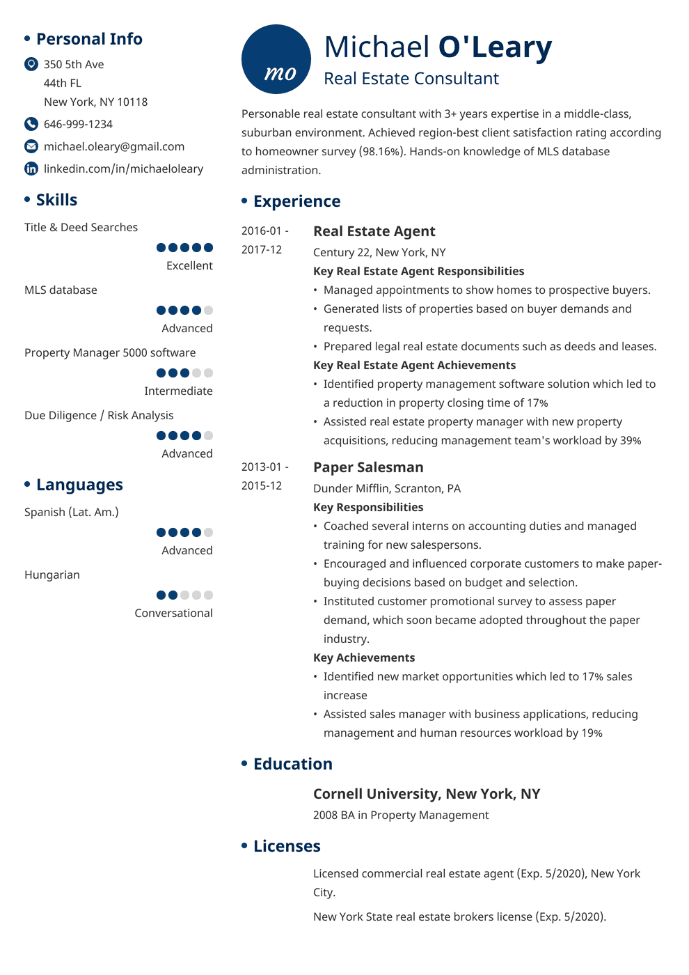real estate agent resume sample  job description  u0026 20 tips