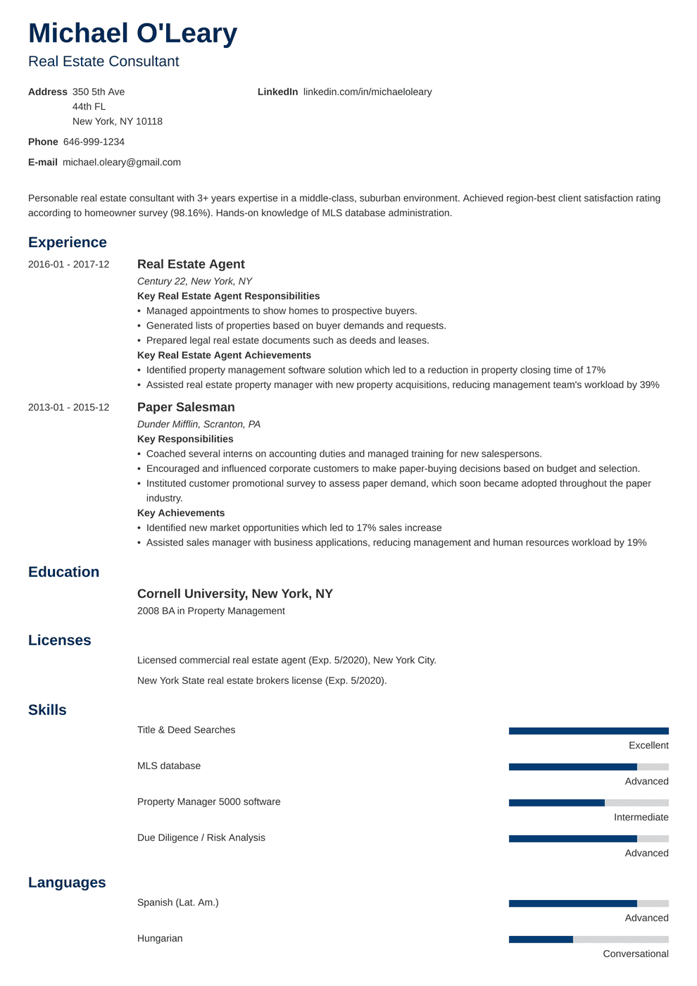 Real Estate Agent Resume Sample [Job Description & 20 Tips]
