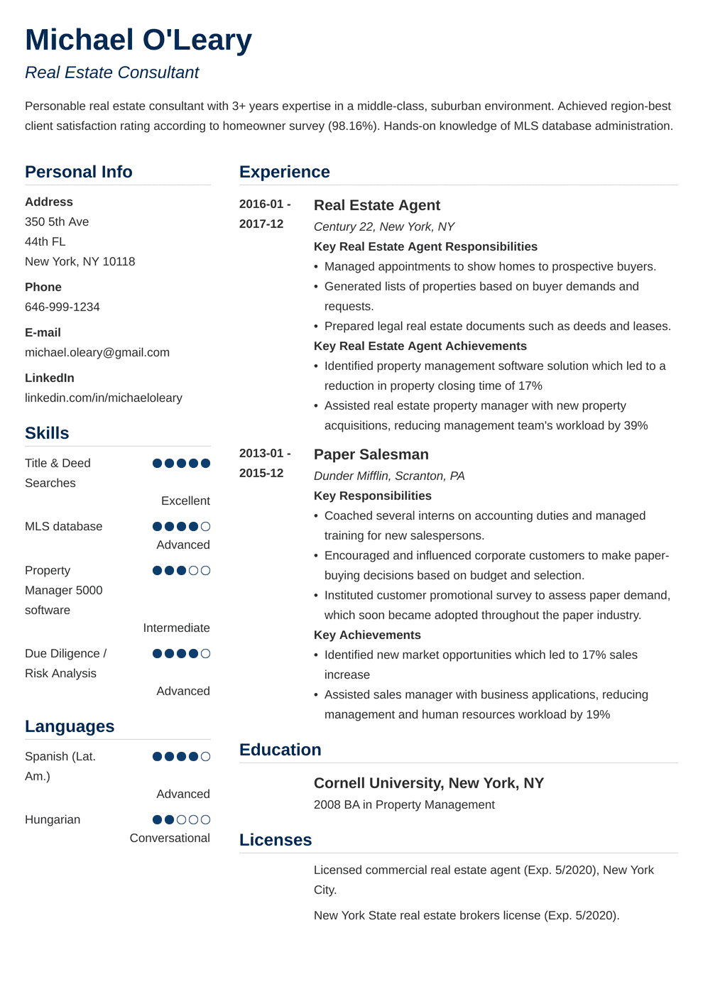 Real Estate Resume Sample Complete Guide 20 Examples