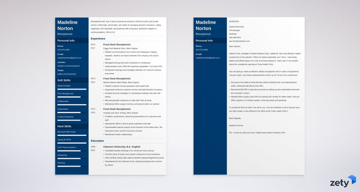 receptionist resume and cover letter set