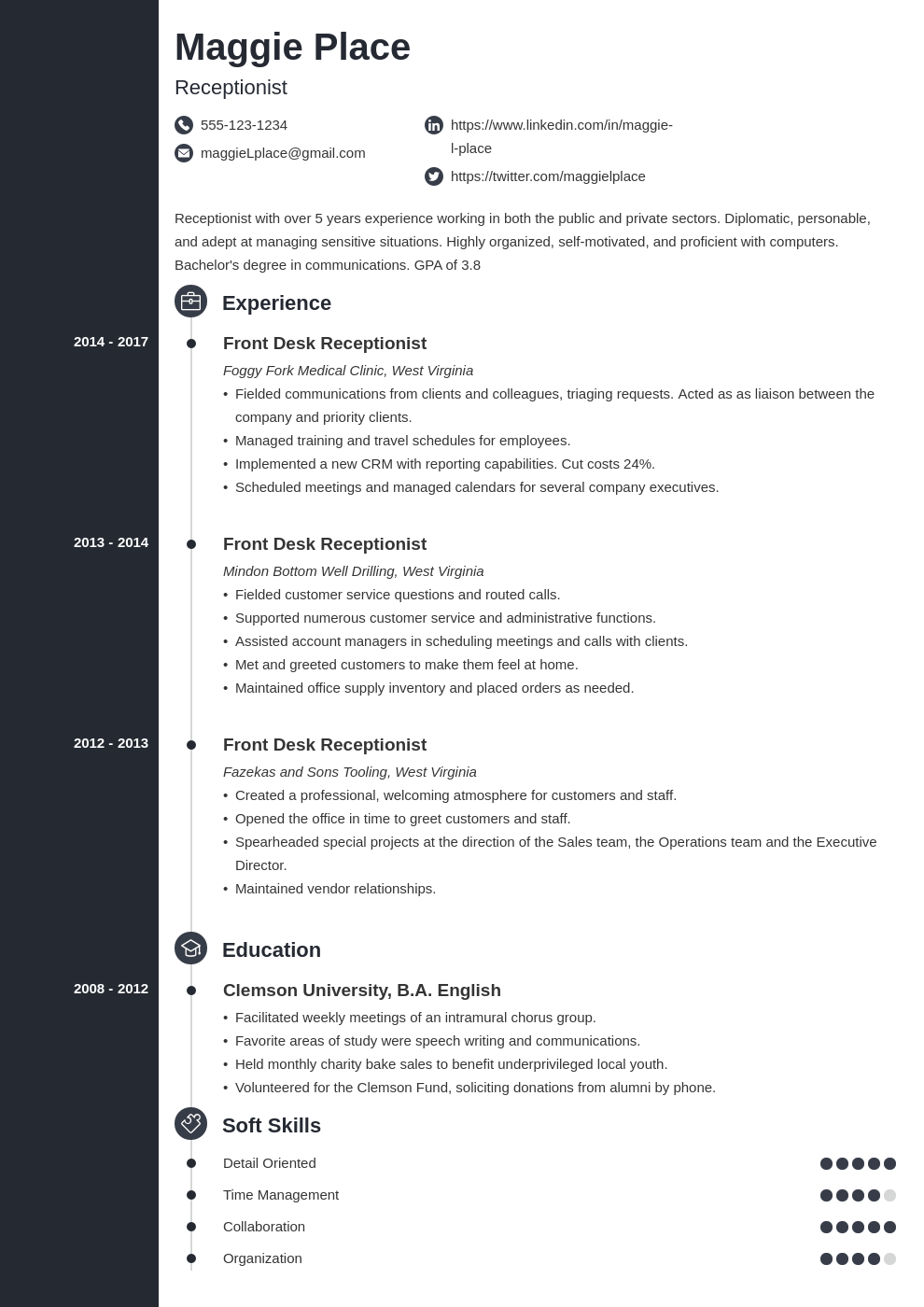 receptionist resume example template concept