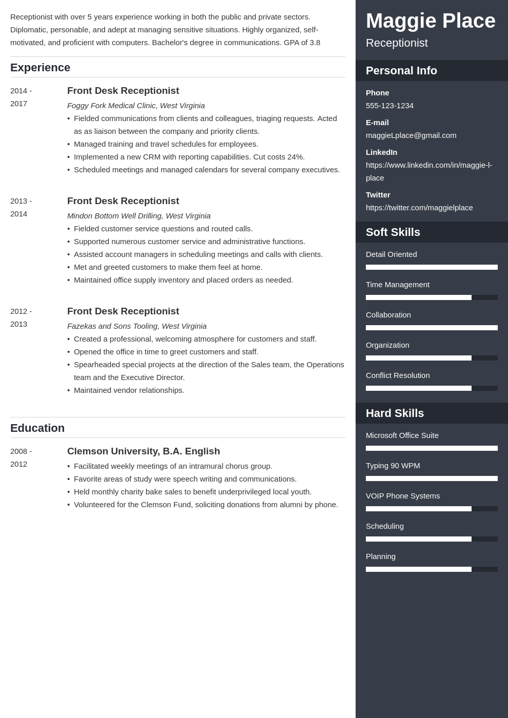 receptionist resume example template enfold