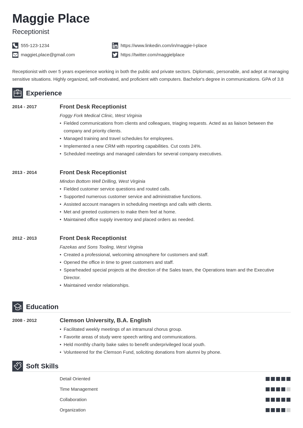 receptionist resume example template iconic