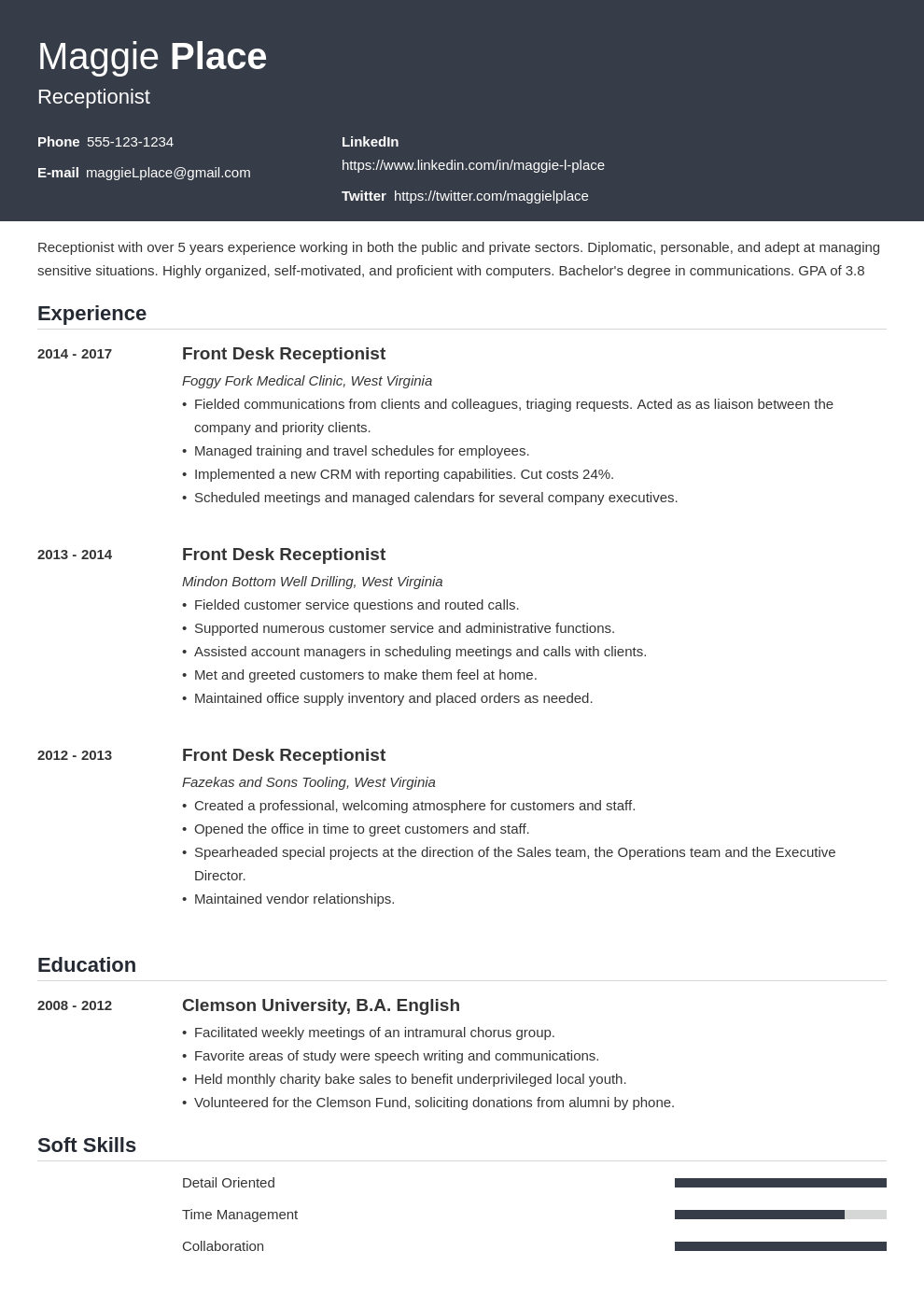 receptionist resume example template influx
