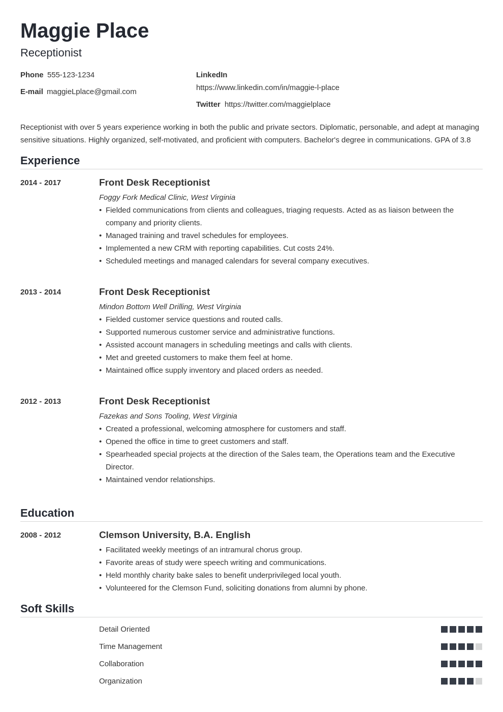 receptionist resume example template nanica