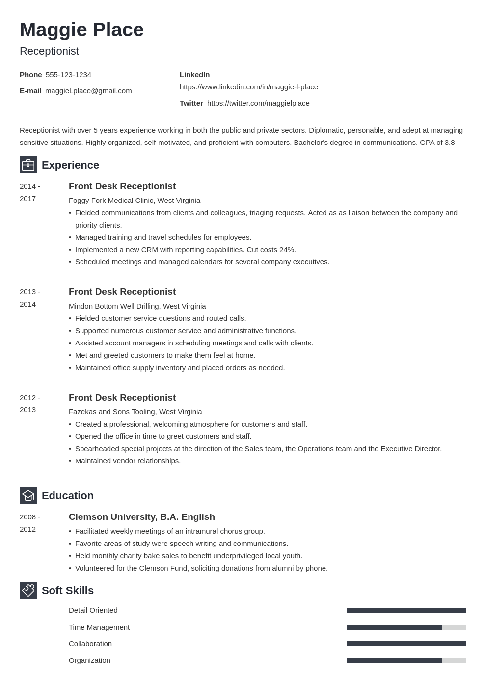 receptionist resume example template newcast