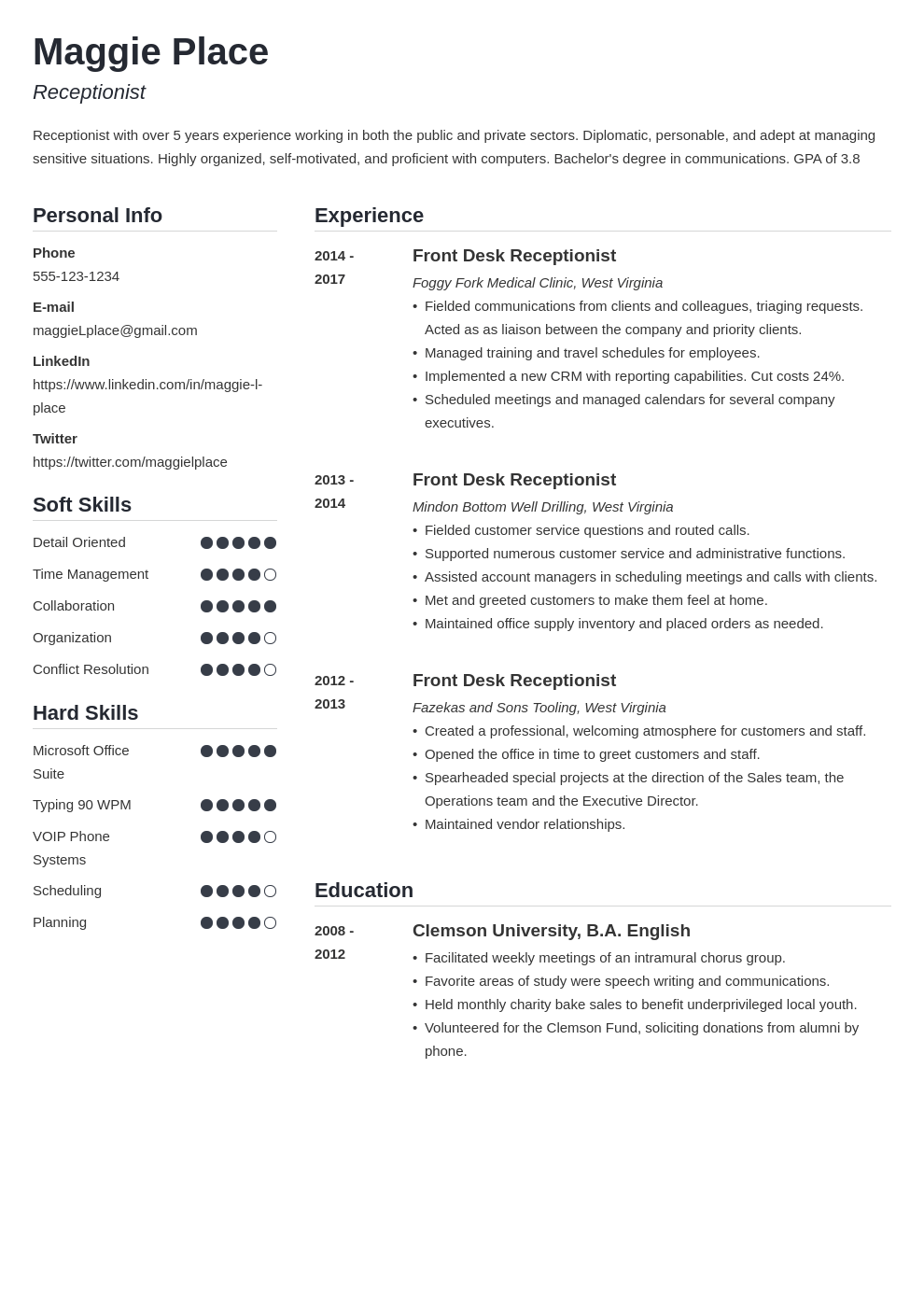 receptionist resume example template simple