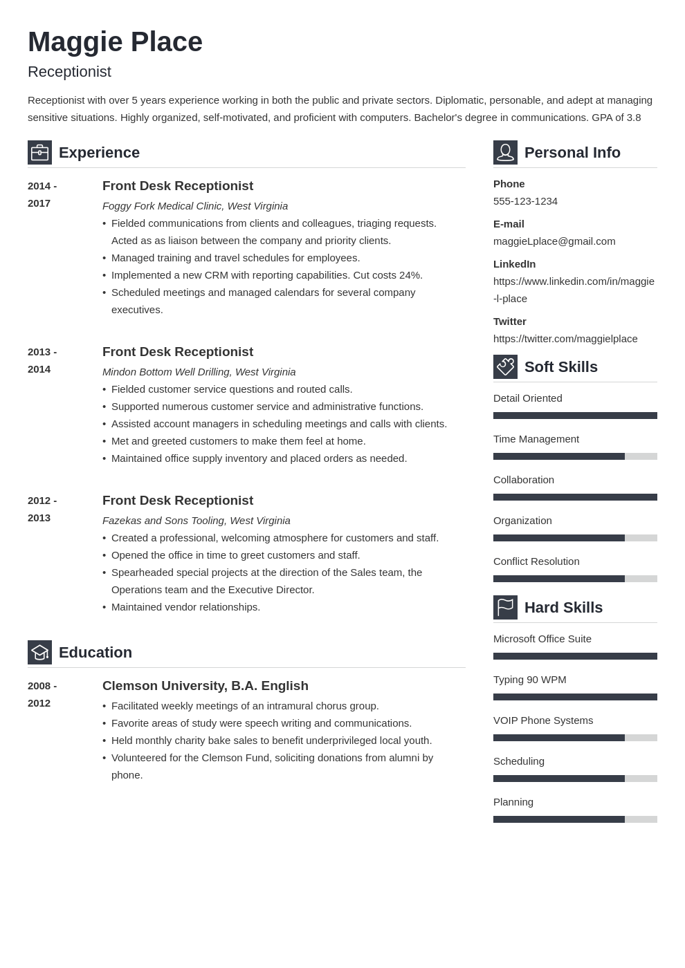 receptionist resume example template vibes