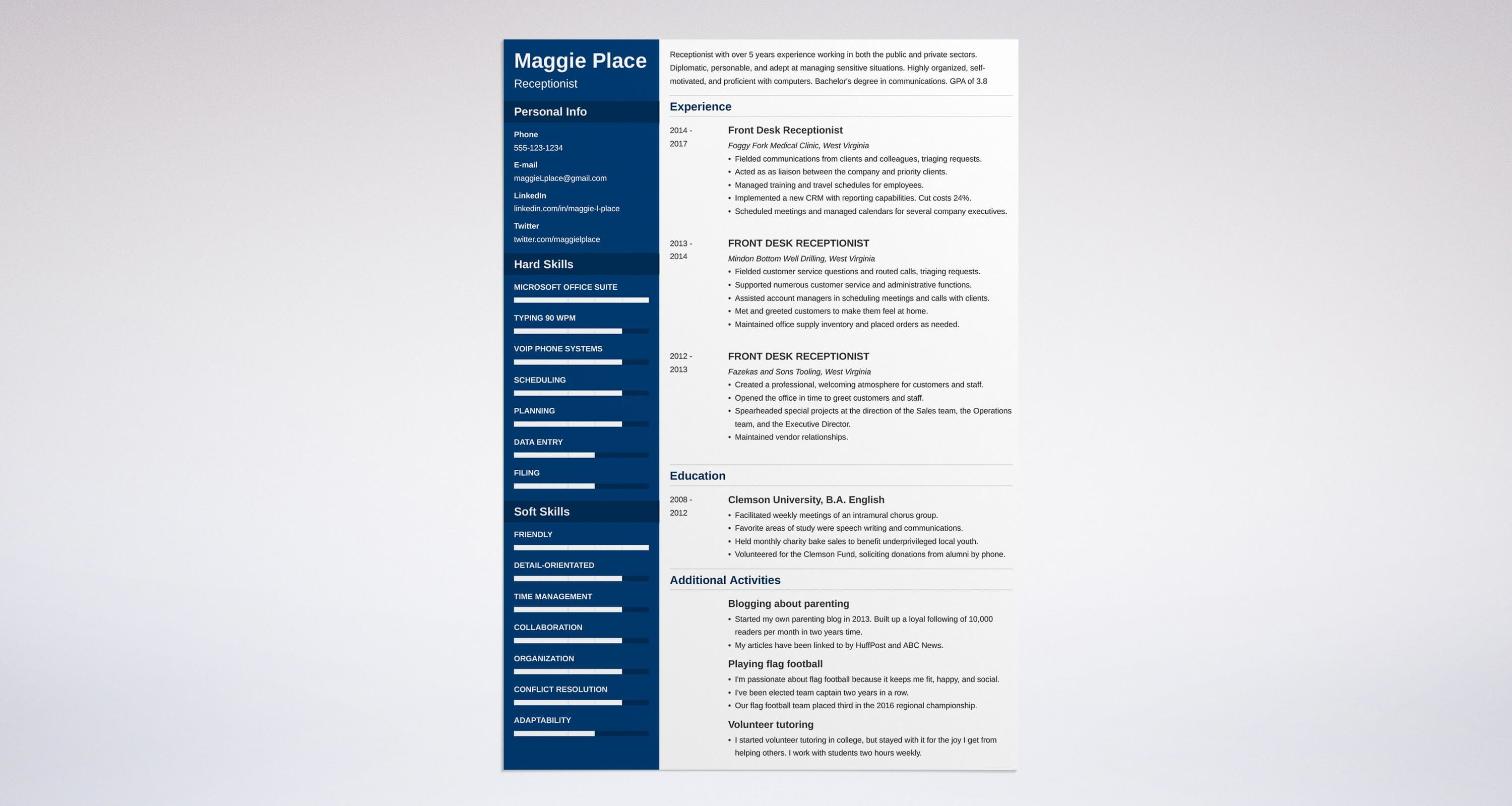 Receptionist Resume Sample Complete Guide 20 Examples