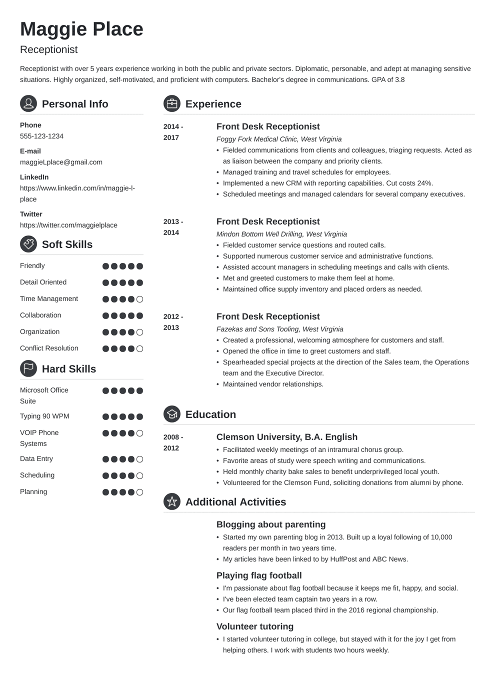 Receptionist Resume: Sample and Writing Guide (20+ Examples)