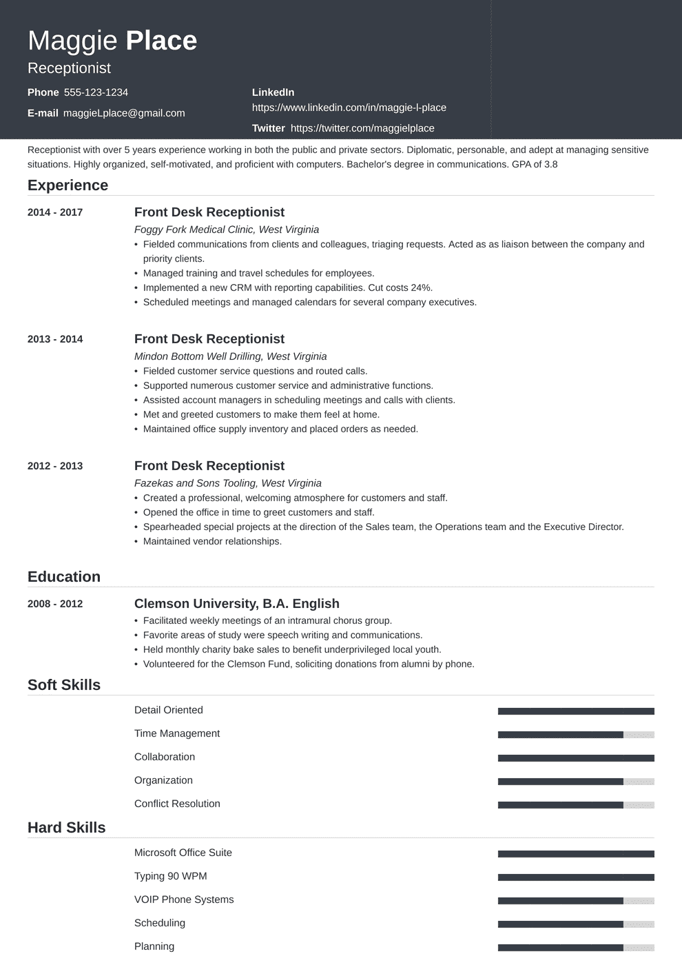 Receptionist Resume Examples (Skills, Job Description & Tips)