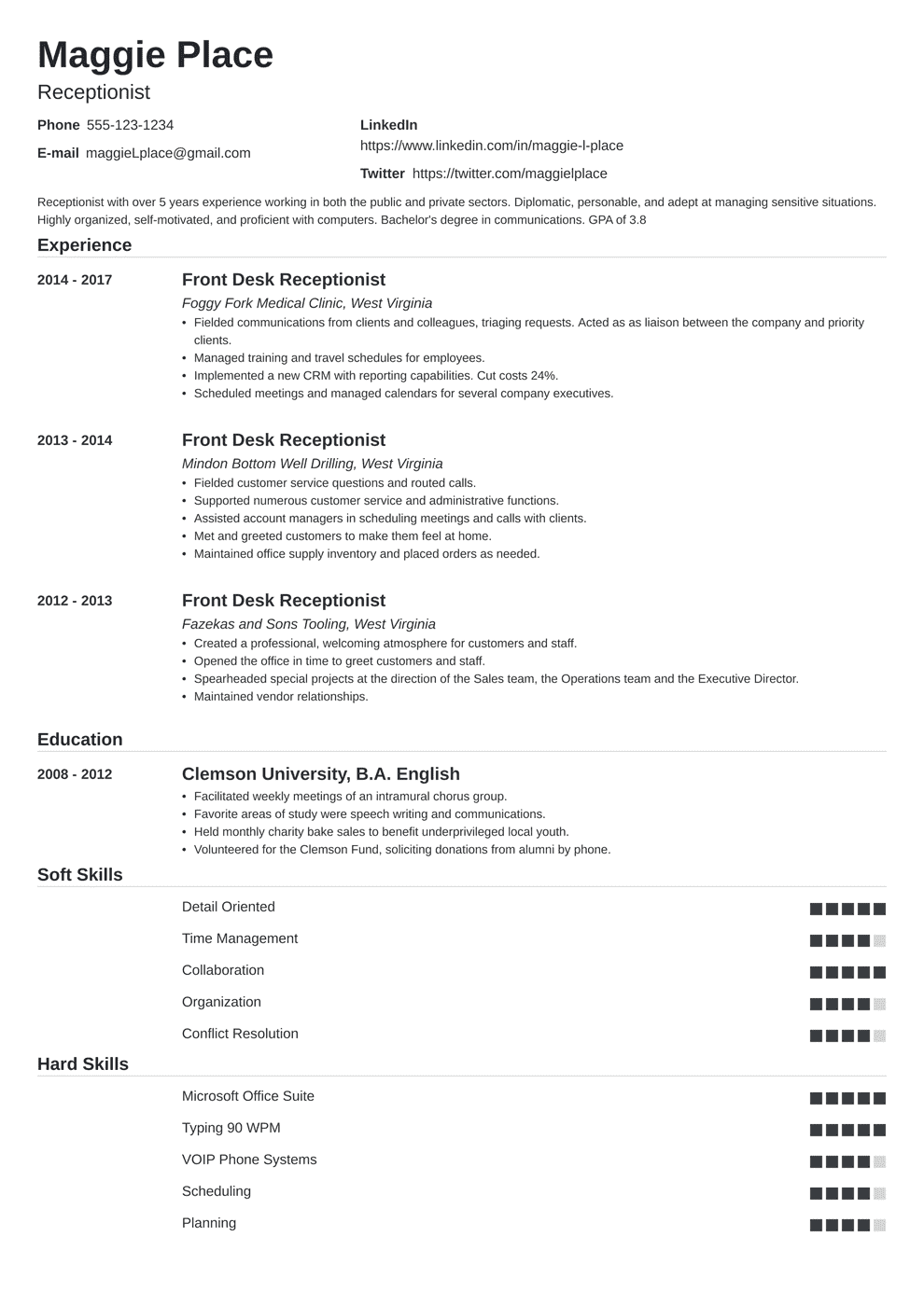 sample of a receptionist resumes