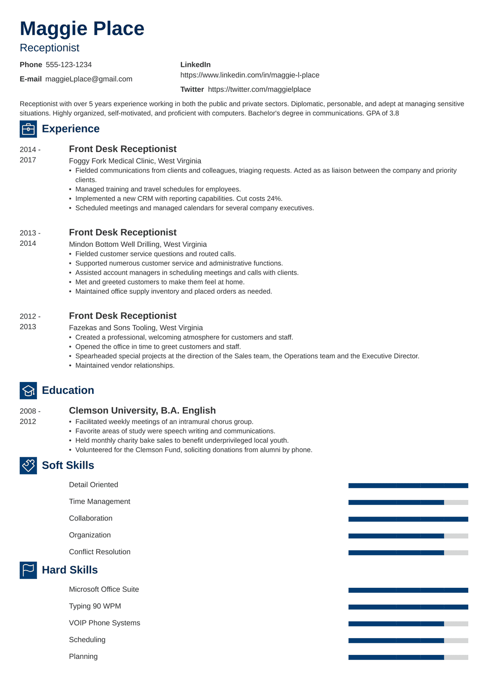 Receptionist Resume: Sample & Complete Guide [+20 Examples]