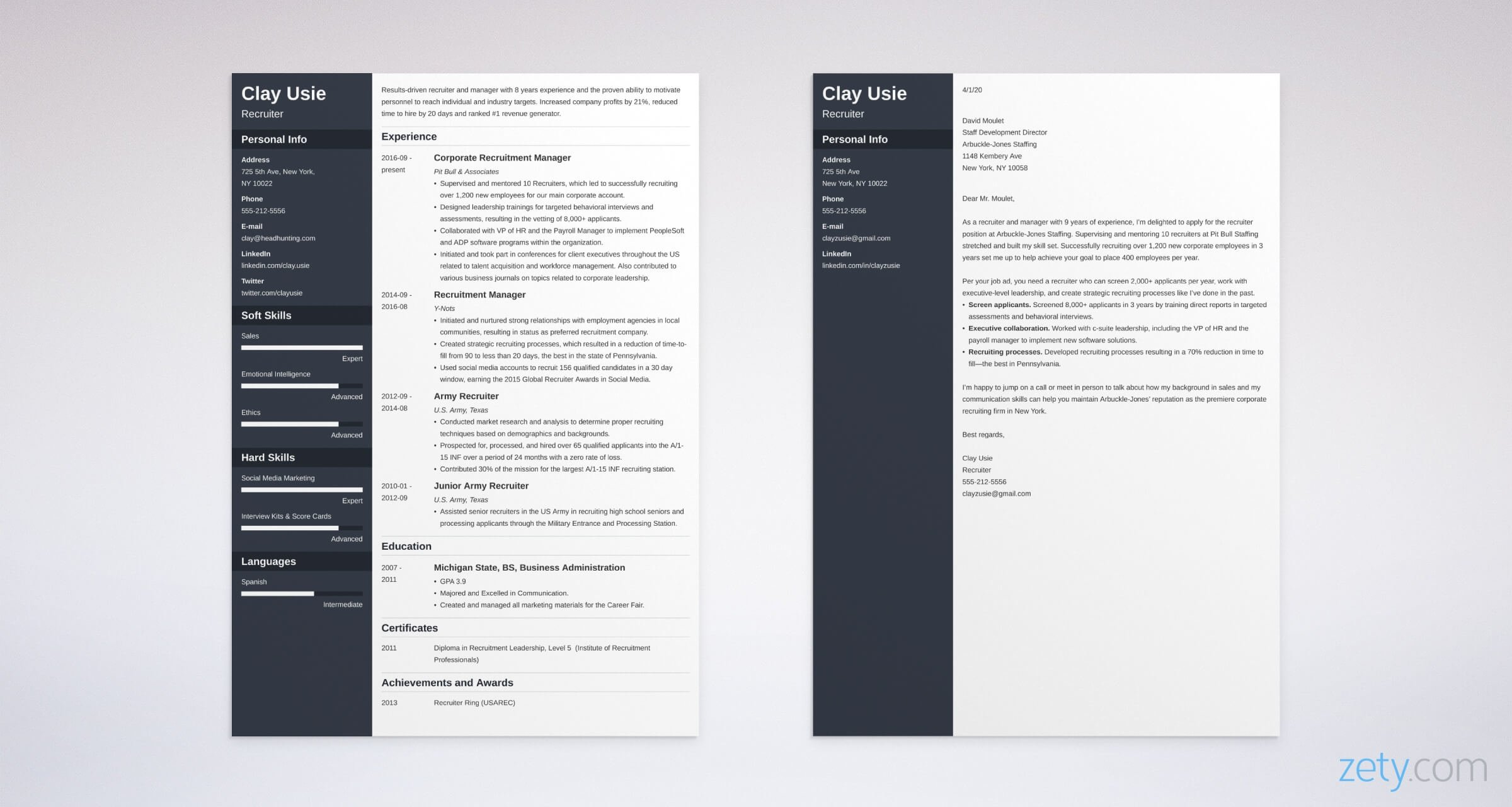 recruiter resume and cover letter set