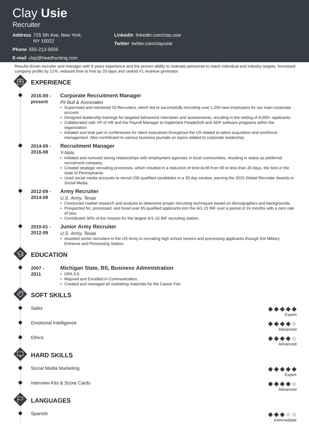 Recruiter Resume Sample Complete Writing Guide 20 Examples