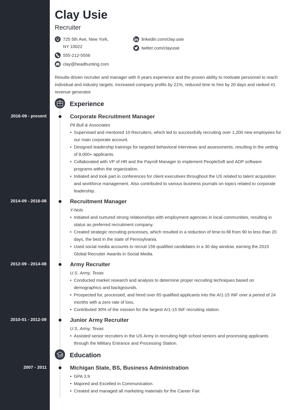 recruiter resume example template concept