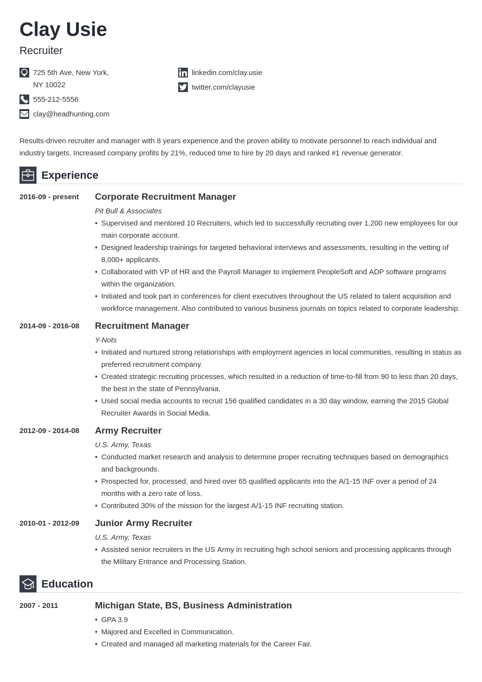 recruiter resume example template iconic
