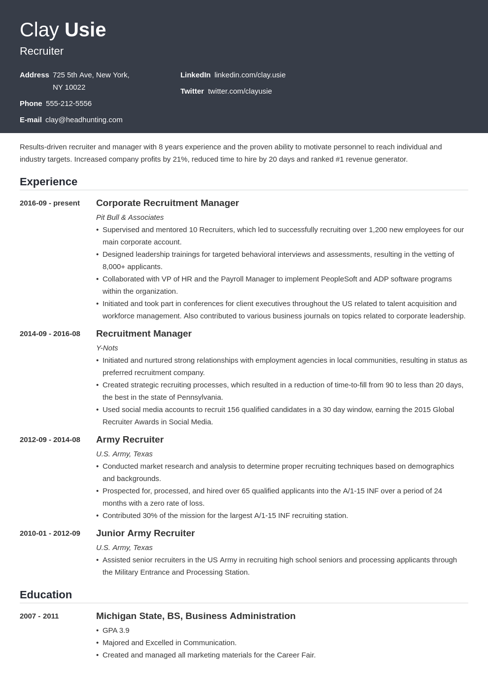 recruiter resume example template influx