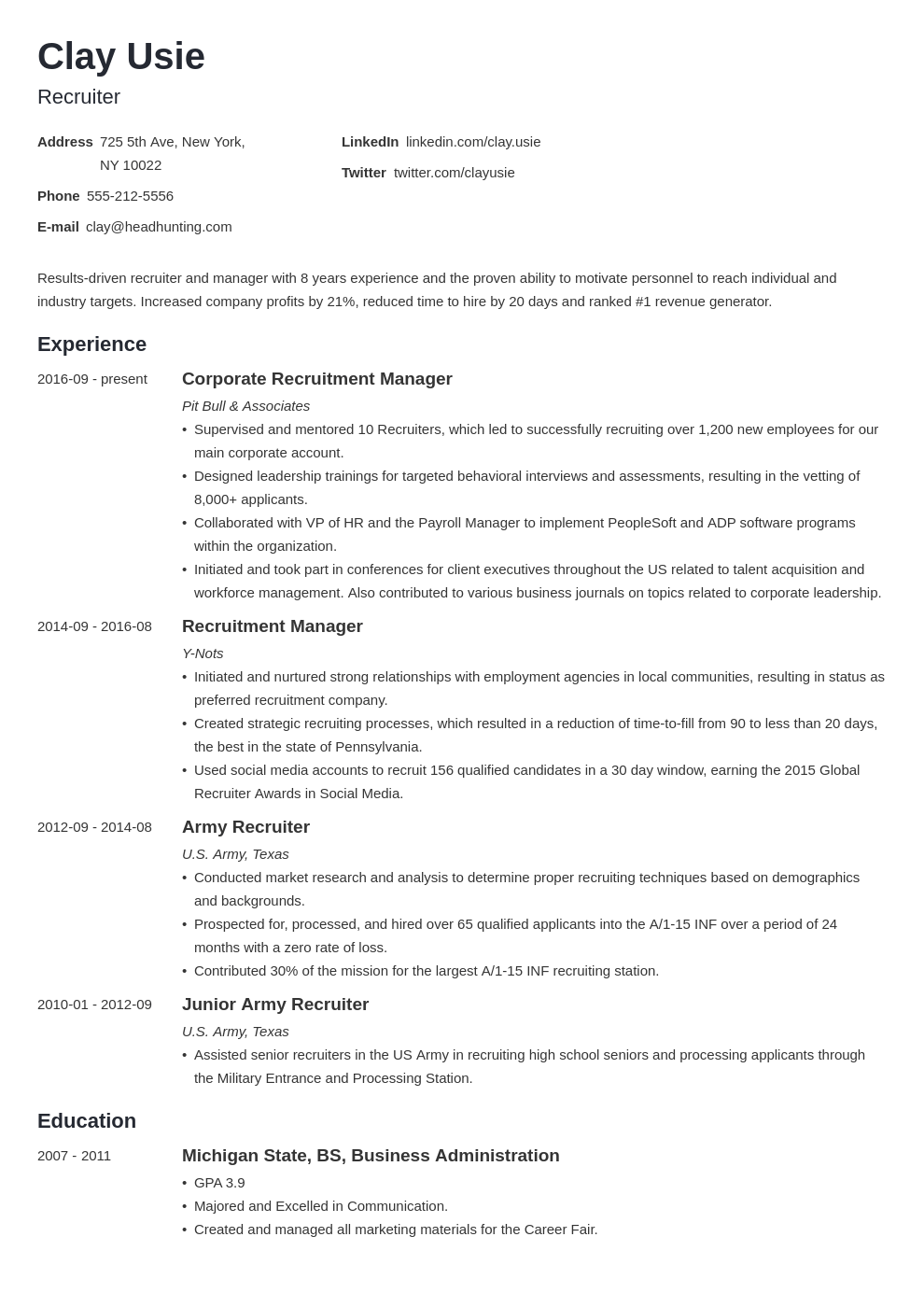 recruiter resume example template minimo