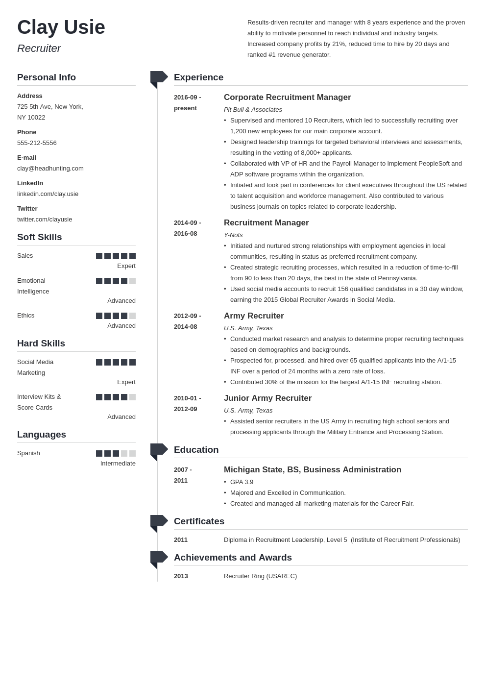 recruiter resume example template muse