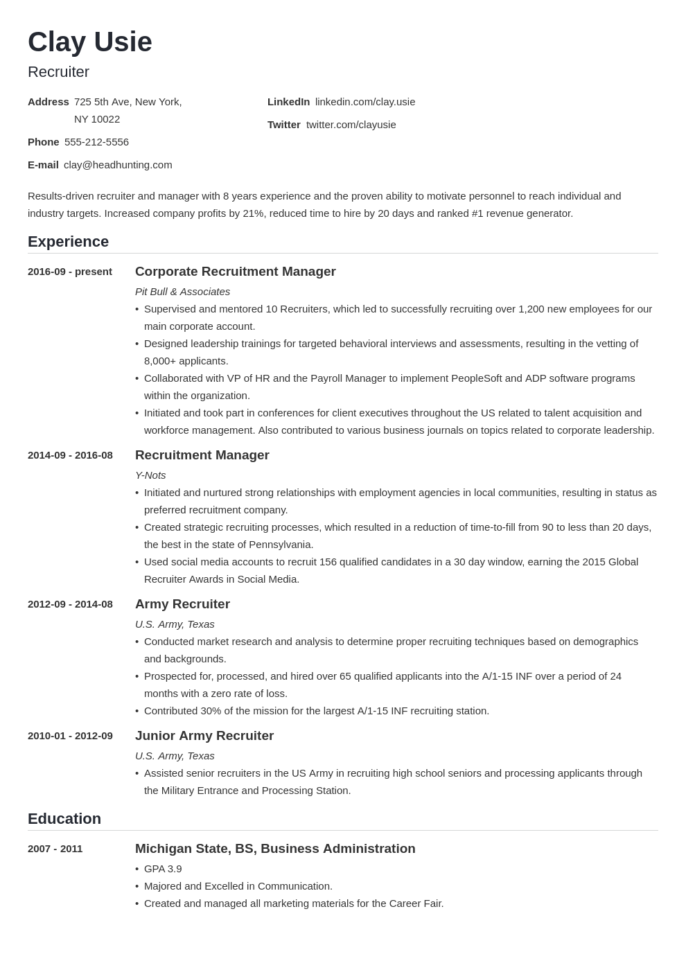 recruiter resume example template nanica