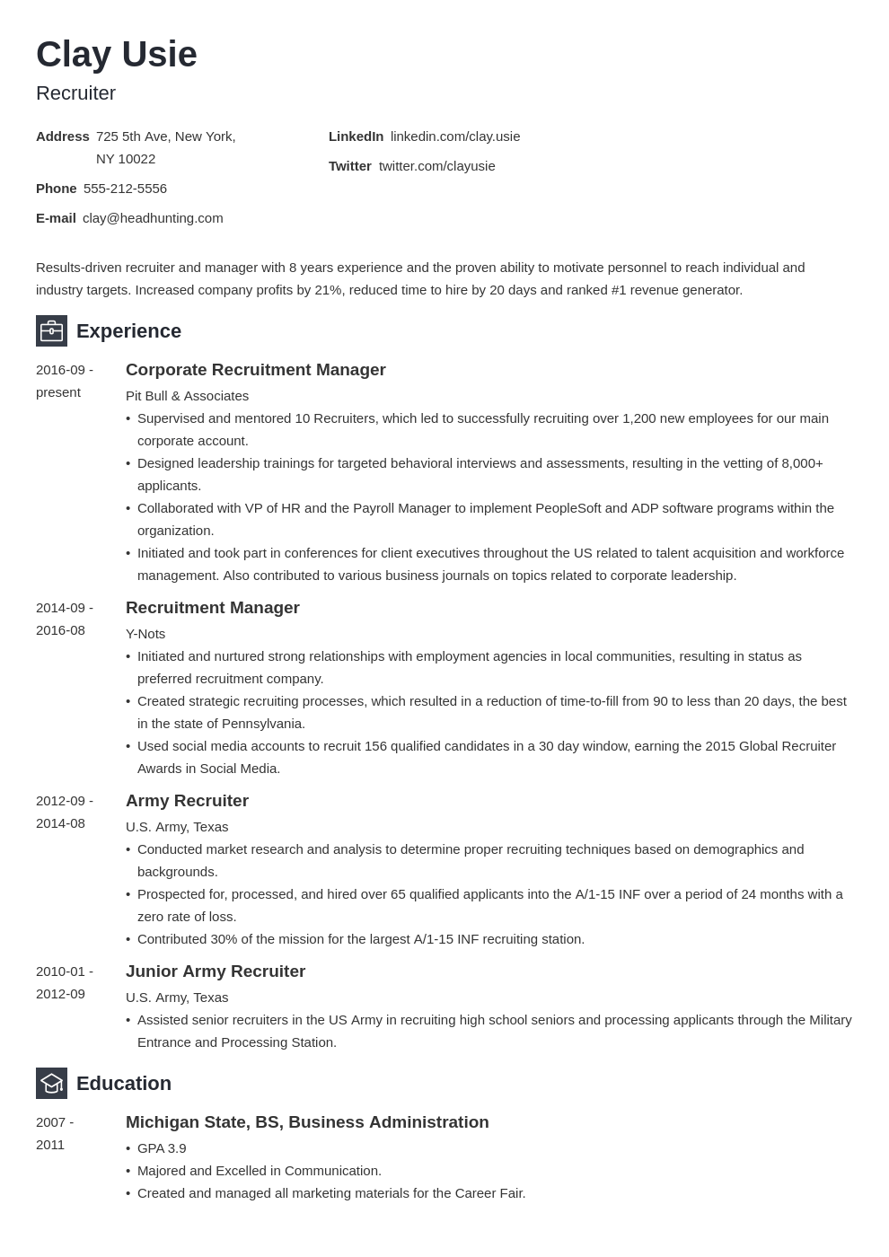 recruiter resume example template newcast