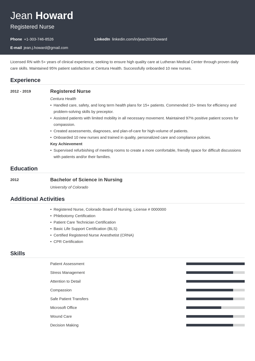 registered nurse resume example template influx
