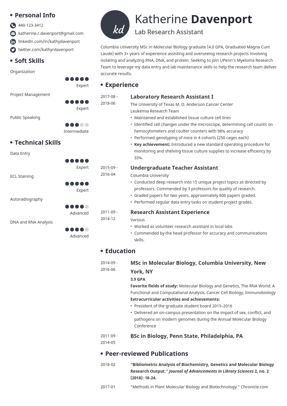 research assistant resume example template initials