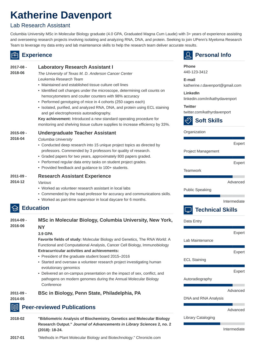 Research Assistant Resume: Sample & Writing Guide (20+ Examples)