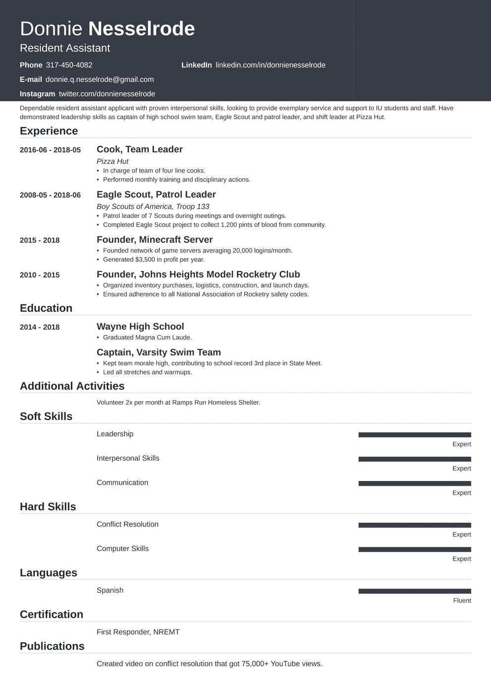 resident assistant resume example