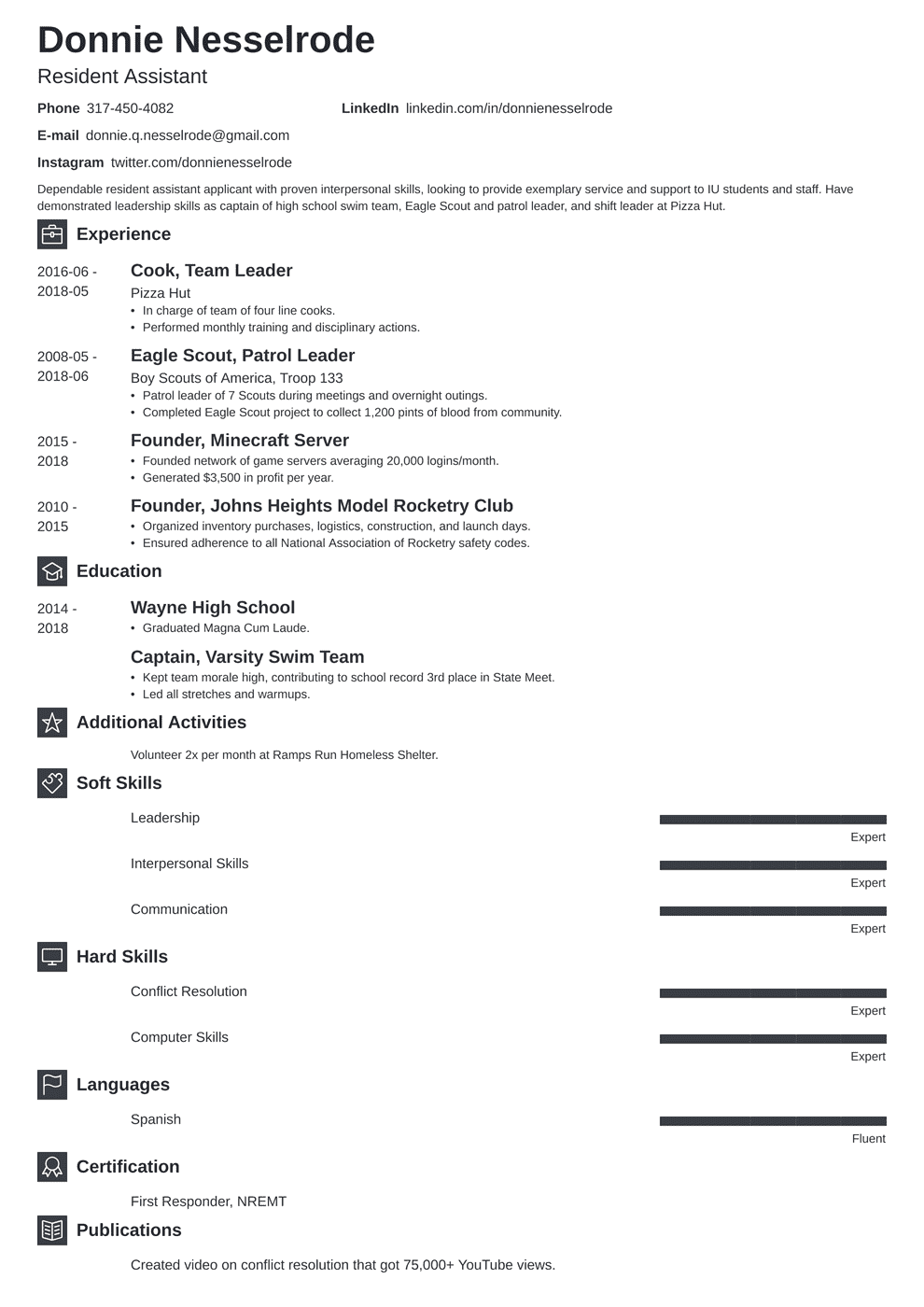 Resident Assistant Resume Examples How To Show Ra On A Resume