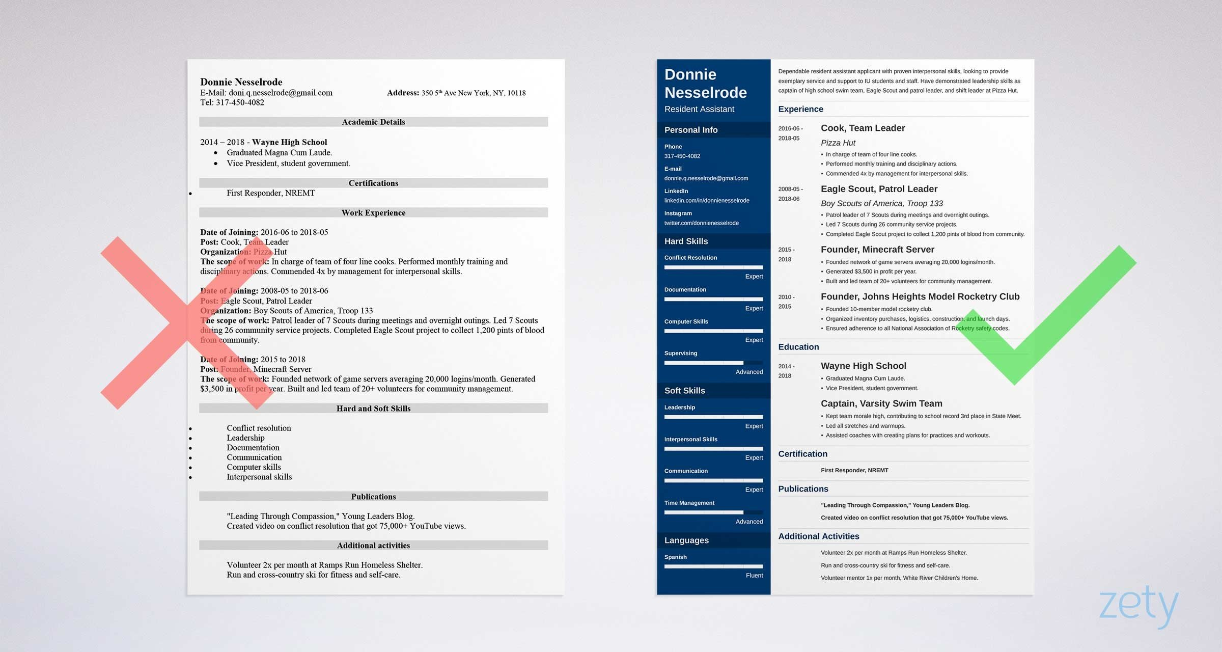 resident assistant resume templates