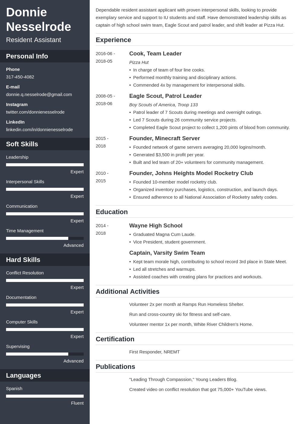 resident assistant resume example template cascade