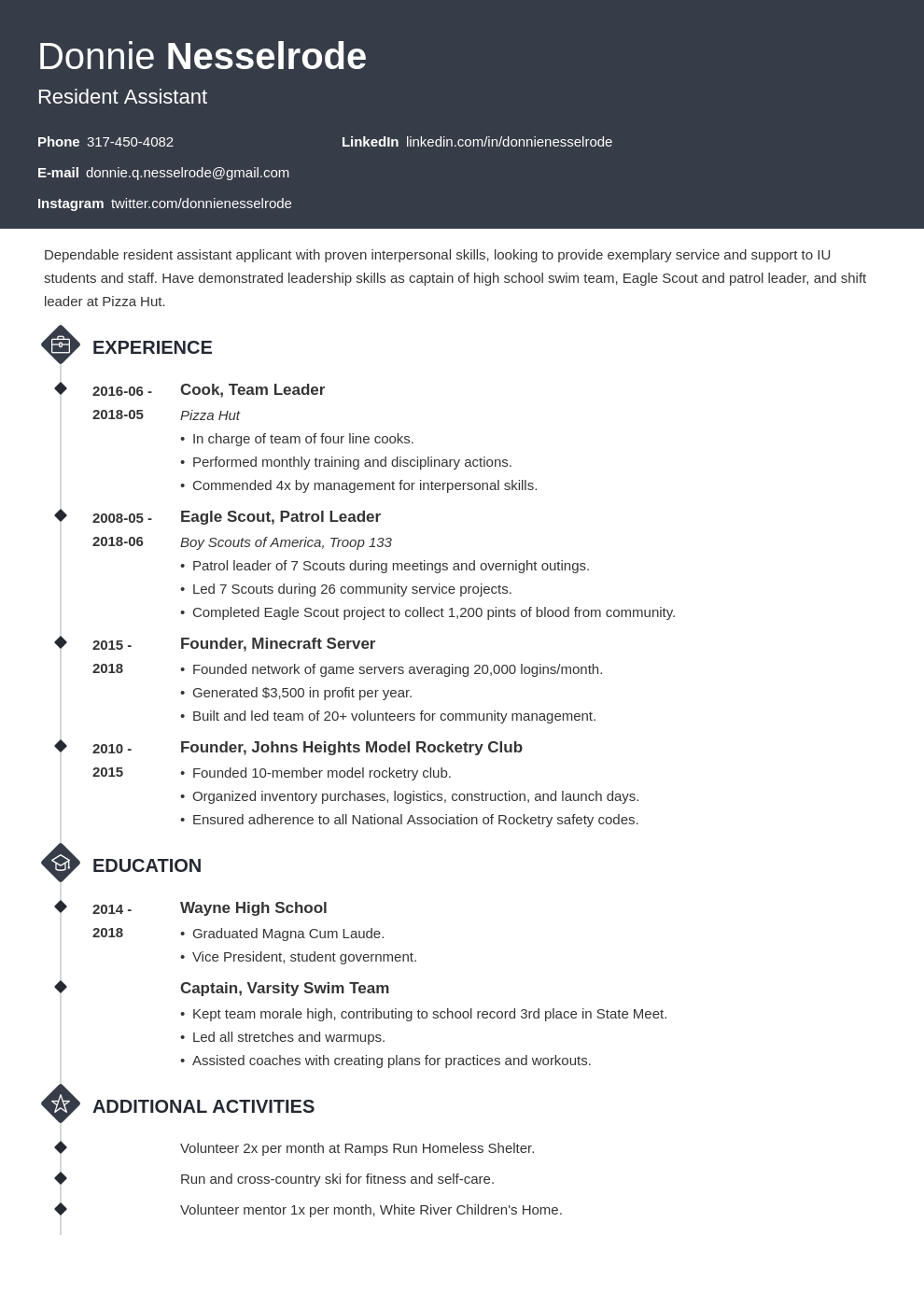 resident assistant resume example template diamond