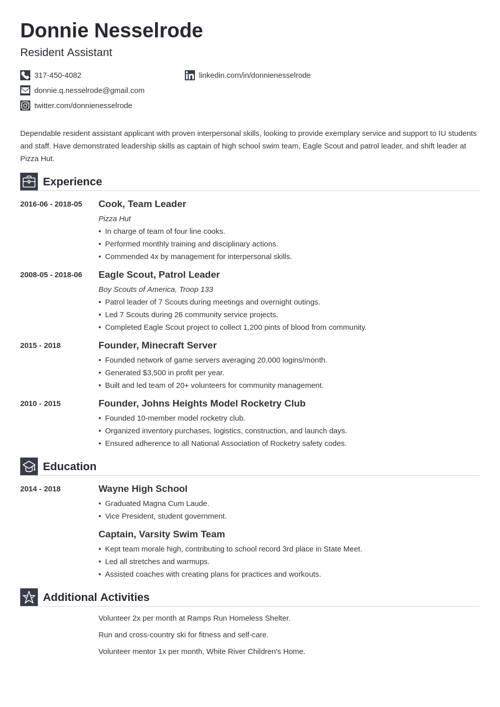 resident assistant resume example template iconic